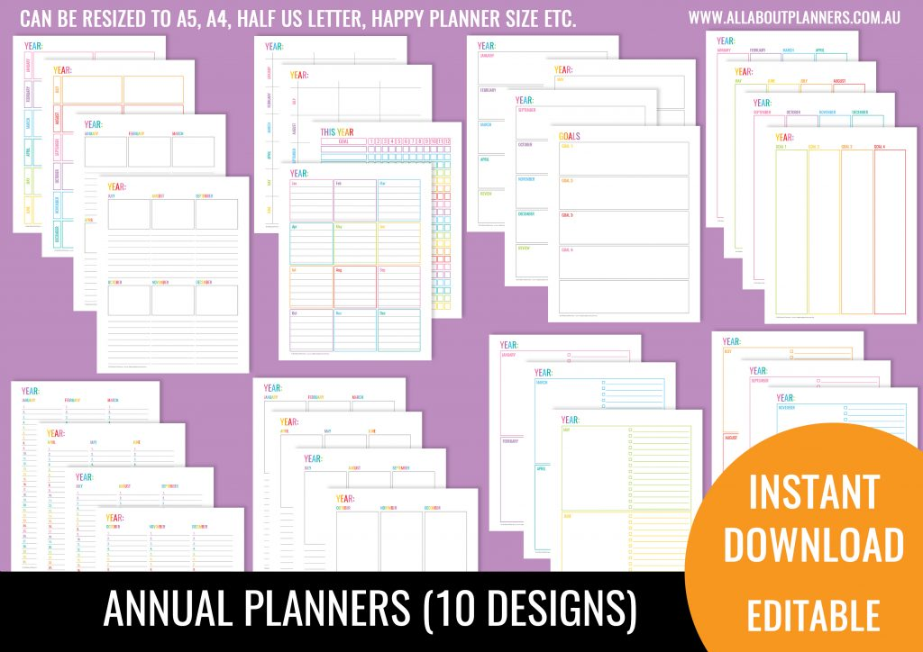 annual planner printable editable monthly dates overview project colorful neutral us letter can print at a5