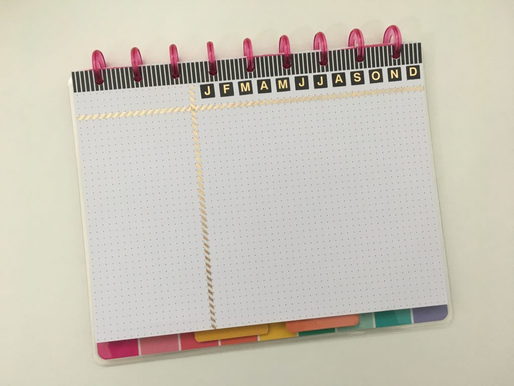 annual planning gantt chart bill tracker layout dates at a glance bullet journal bujo inspiration ideas all about planners happy planner mambi discbound