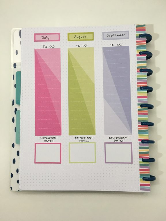 annual planning page bullet journal happy notes dot grid quarterly planning using mambi stickers color coded month box stickers