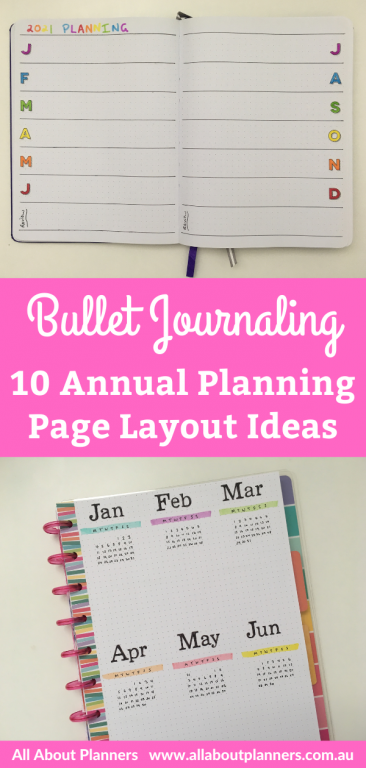 bullet journal annual planning page ideas layouts yearly overview dates at a glance monthly planning birthdays anniversaries setting up a new bullet journal all about planners