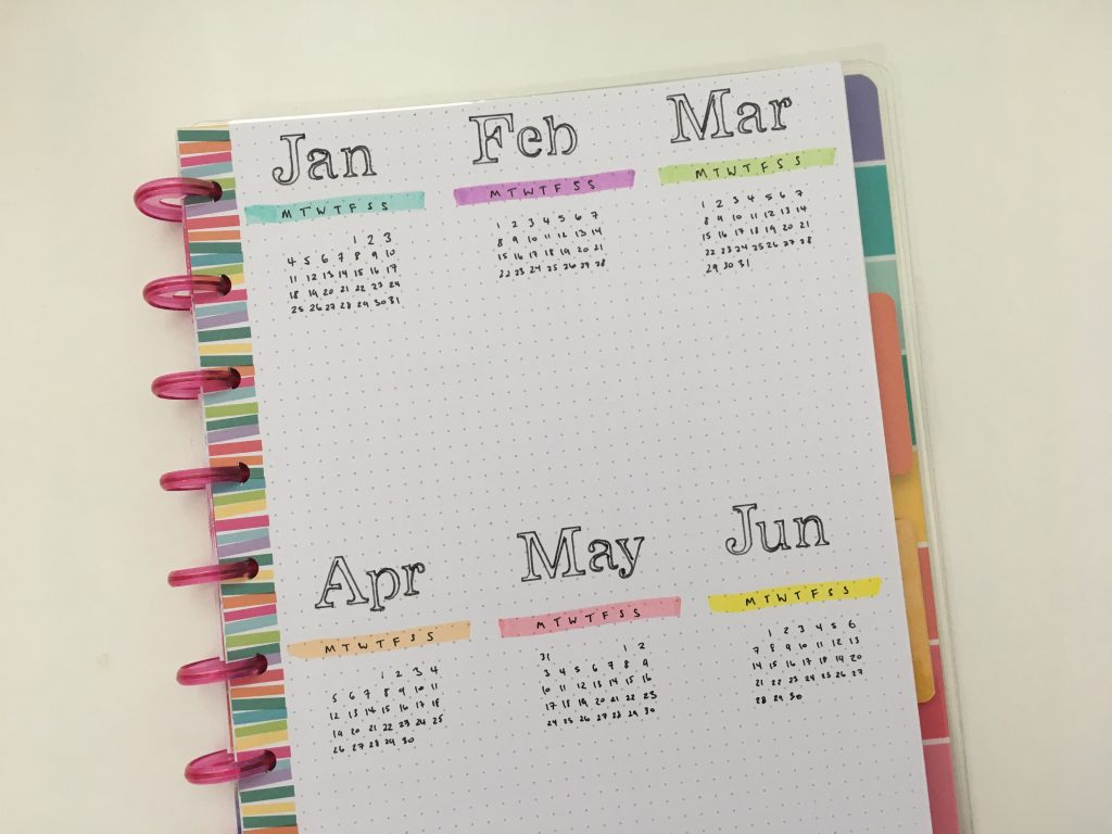 bullet journal dates at a glance page annual planning minimalist bujo staedtler highlighters yearly overview