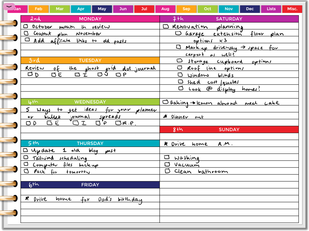 digital weekly planner spread rainbow horizontal lined simple quick easy all about planners goodnotes template monday week start