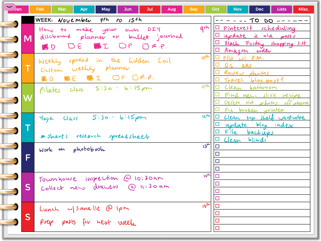 digital weekly planner spread rainbow horizontal lined simple quick easy all about planners goodnotes template monday week start dashboard weekly checklist to do list