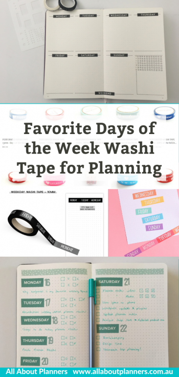 favorite days of the week washi tape for planning and bullet journaling black rainbow weekday functional supplies all about planners recommendation