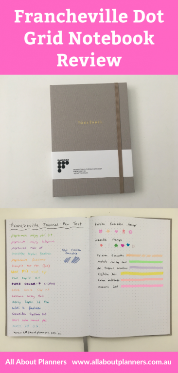 francheville dot grid notebook for bullet journaling pros and cons paper quality pen testing video review australian cheap notebook under 10 dollars spotlight