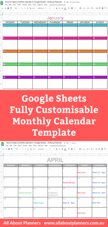 google sheets fully customisable monthly calendar template printable how to your own printables video tutorial monday week start sunday you choose portrait landscape page orientation