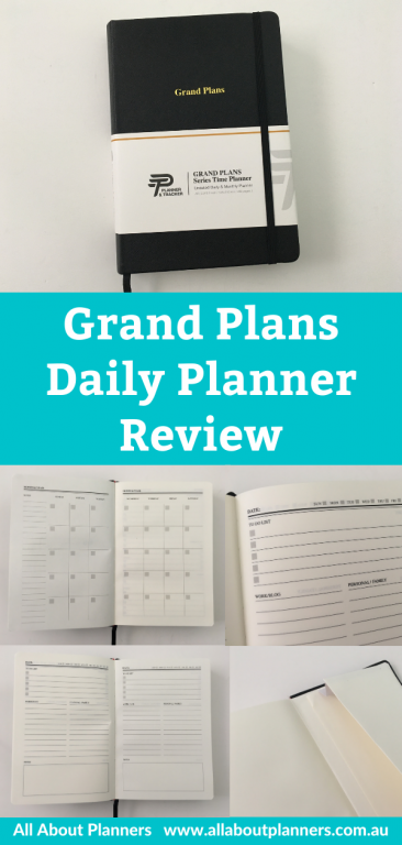 grand plans daily planner review pros and cons 2 pages per day work and personal no schedule monthly calendar pocket folder lined writing space