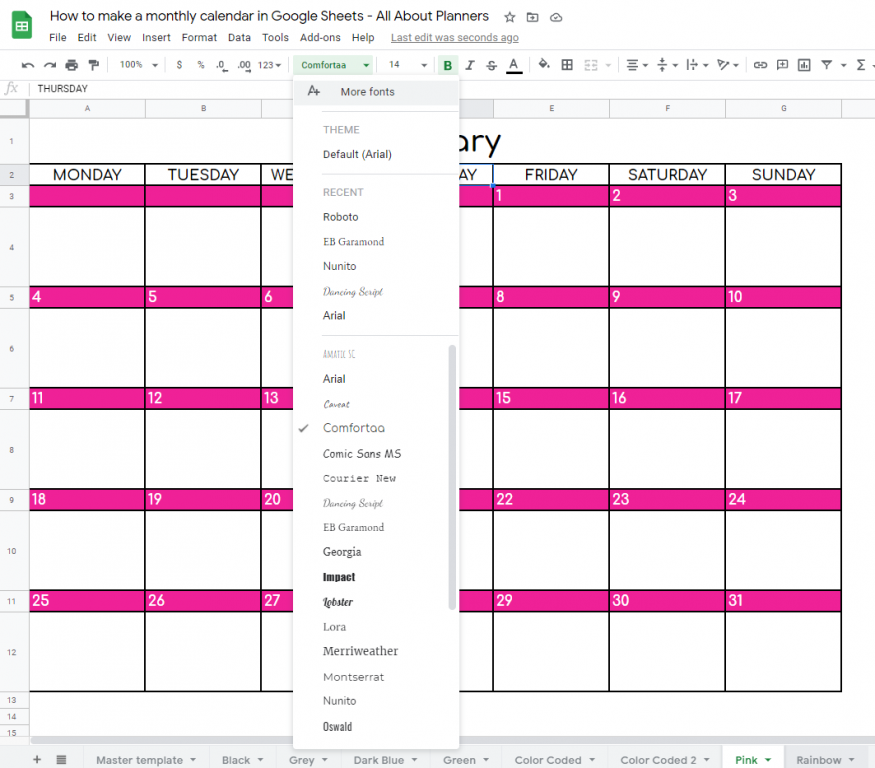 how to change font style in google sheets tutorial for making a printable monthly calendar diy custom planner