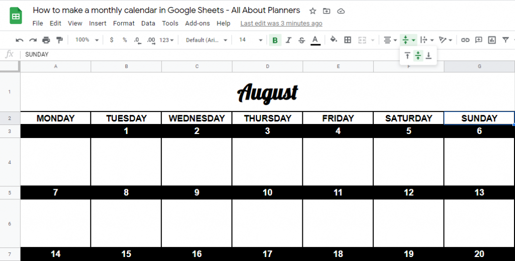 how to justify text in google sheets centre align tips multiple rows and columns change font style and size how to make a monthly calendar printable