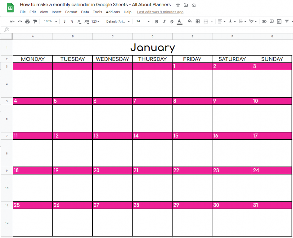 how to make a monthly calendar in google sheets video tutorial tips step by step instructions all about planners change color easy to use no previous design experience
