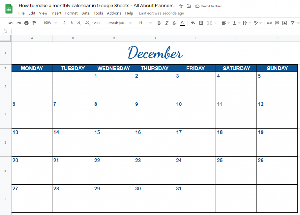 how to make a monthly calendar printable google sheets free online tool software