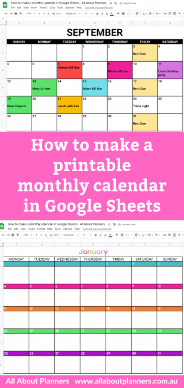 how to make a printable monthly calendar in google sheets video tutorial color coded free online tool similar to microsoft excel all about planners tutorial