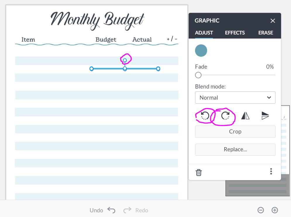 how to rotate shapes graphics images in picmonkey tutorial quick easy simple how to make printables monthly budget tracker