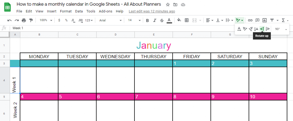 how to rotate text in google sheets how to type text on the side make a monthly calendar printable in google sheets