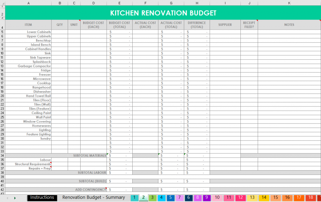 How I Use Excel To Organize A Home Renovation Budget Spending Program Paint Colors Contacts Quotes All About Planners