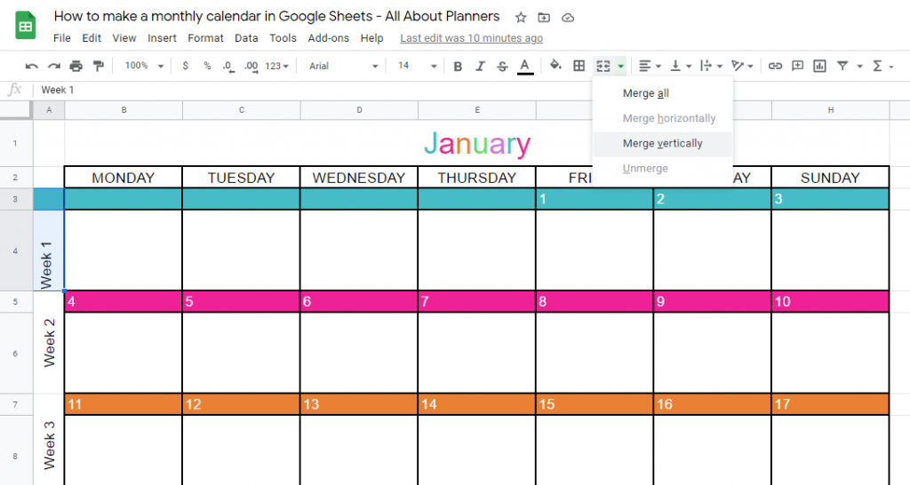 merge tool in google sheets how to type text on the side simple quick easy tutorial how to make a monthly calendar