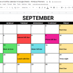 How to make a monthly calendar printable using Google Sheets (online tool similar to Excel)