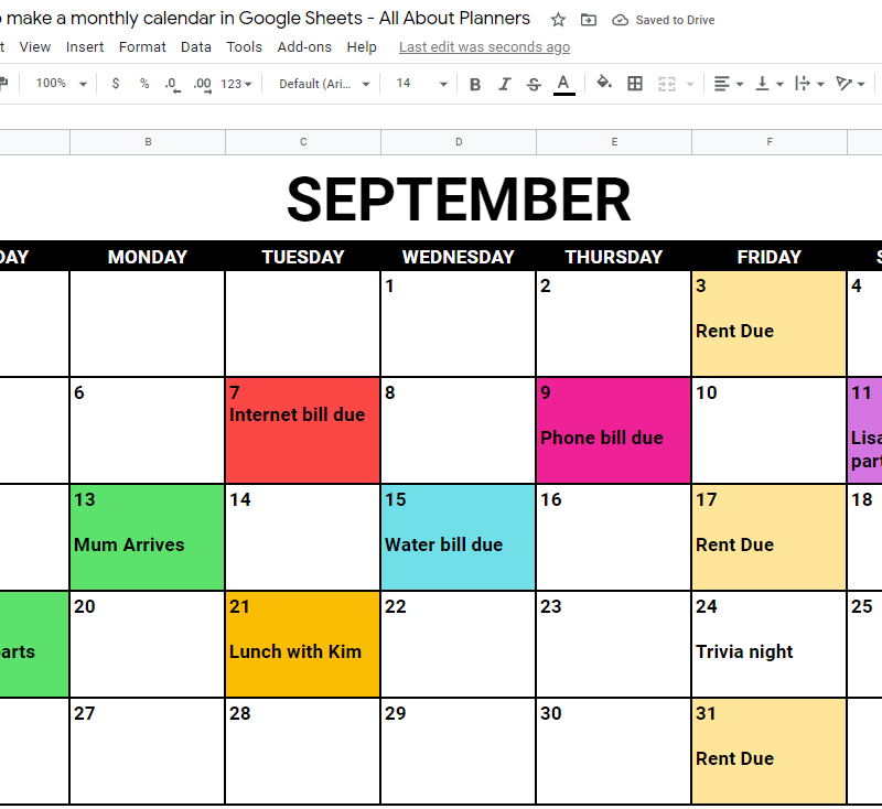 monthly calendar google sheets template tutorial color coded schedule digital planning free online tool