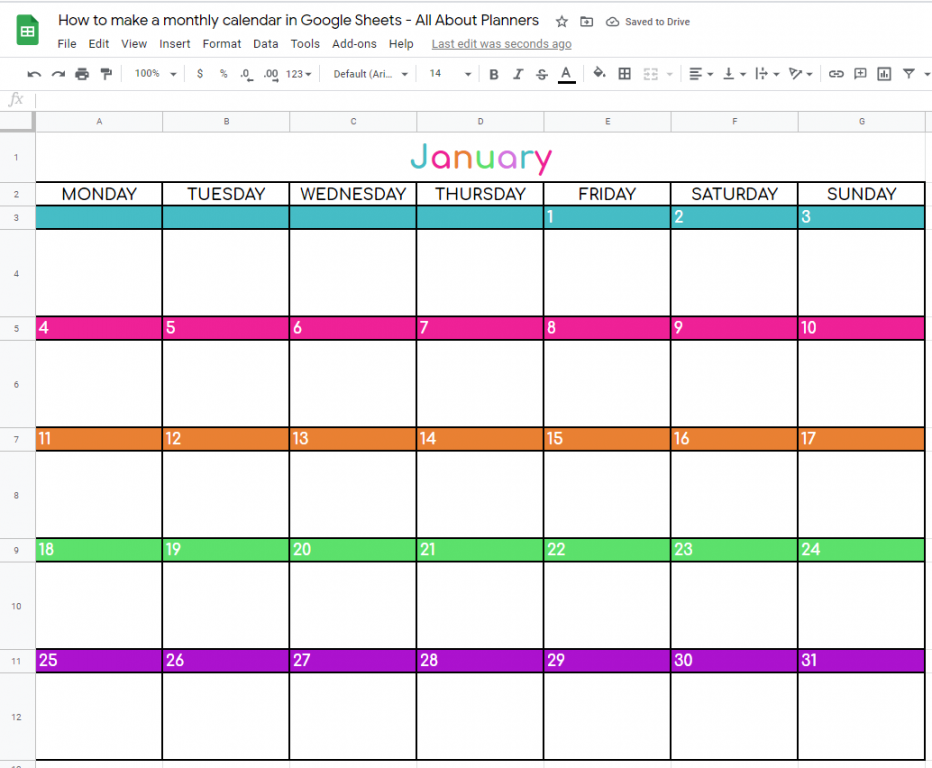 monthly calendar template google sheets how to make rainbow change colors font style font size tutorial