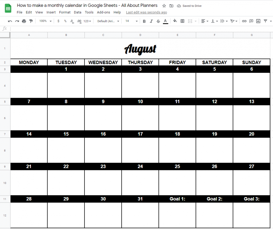 monthly calendar template google sheets how to make rainbow change colors font style font size tutorial quick easy
