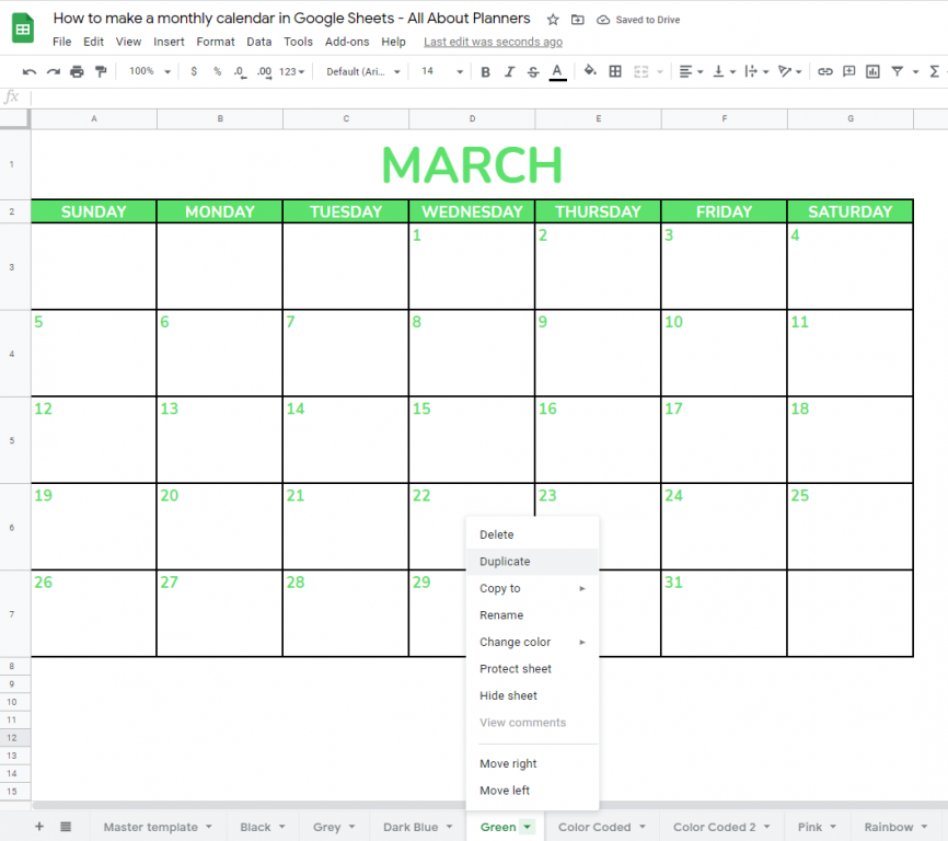 monthly calendar video tutorial template google sheets simple quick easy minimalist all about planners