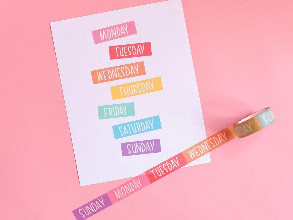 nikki supply store rainbow washi tape days of the week cute functional bullet journaling