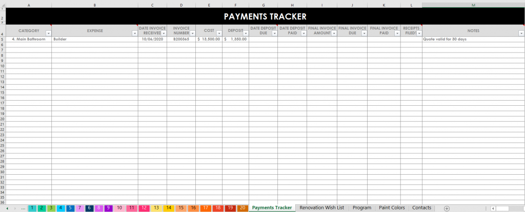 payments tracker home renovation spreadsheets excel automatic formulas project planner flipping houses investment property remodel