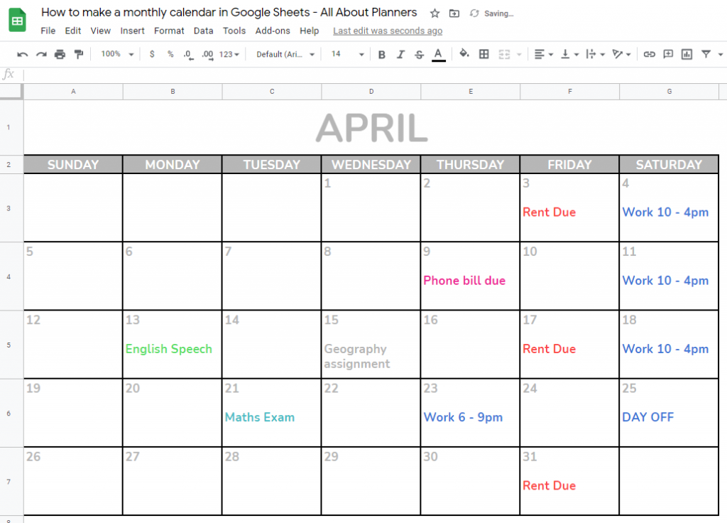 printables tutorial google sheets monthly calendar tips color coded school college simple quick easy free online tool