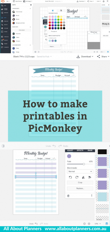 printables tutorial picmonkey how to make a budget planner printable template quick easy video tutorial all about planners