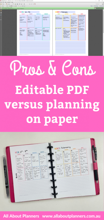 pros and cons of planning using an editable pdf versus planning on paper all about planners comparison