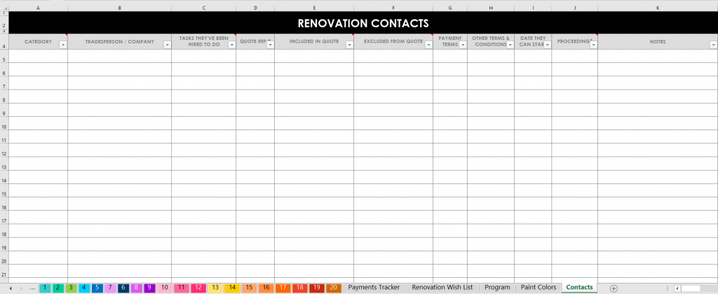 renovation contacts excel planner spreadsheets automatic formulas house flipping remodel all about planners