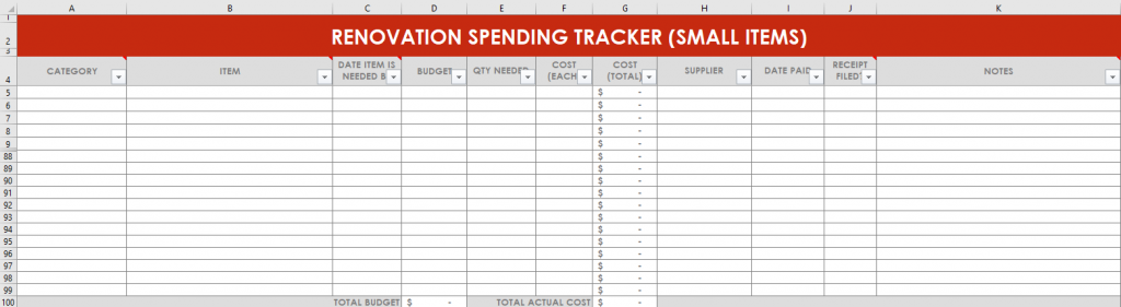 renovation spending tracker excel spreadsheets home remodel google sheets automatic formulas room zone budget