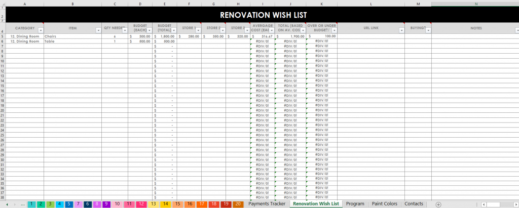 renovation wish list budget spending expenses by room category house flipping tool spreadsheets home organization excel google sheets