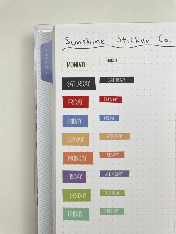 sunshine sticker co washi tape days of the week rainbow 10mm and 5mm black and white colorful