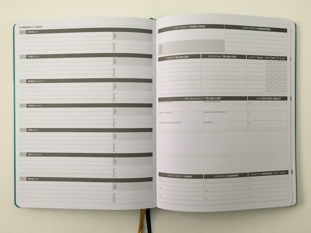 Clever fox pro weekly planner review horizontal dashboard monday week start affordable us letter page size functional layout goal planning bright white paper thick no ghosting