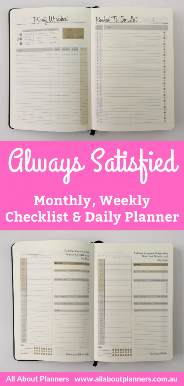 always satisfied weekly monthly daily planner review checklist pros and cons undated 6 monthly half hour daily schedule planner
