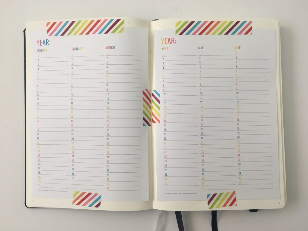 annual dates at a glance page how to save time ruling up bullet journal spreads resize printable for any page size bujo