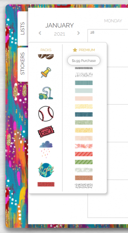 artful agenda digital planner review stickers and washi tape free and in app purchases