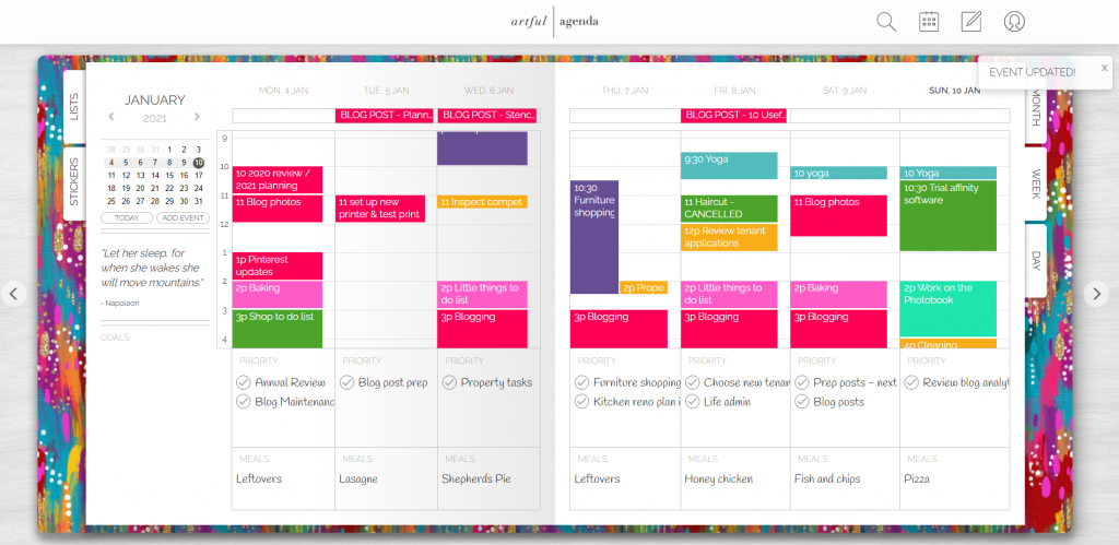 artful agenda weekly spread digital planning tool for use on computer ipad or iphone syncs with google calendar
