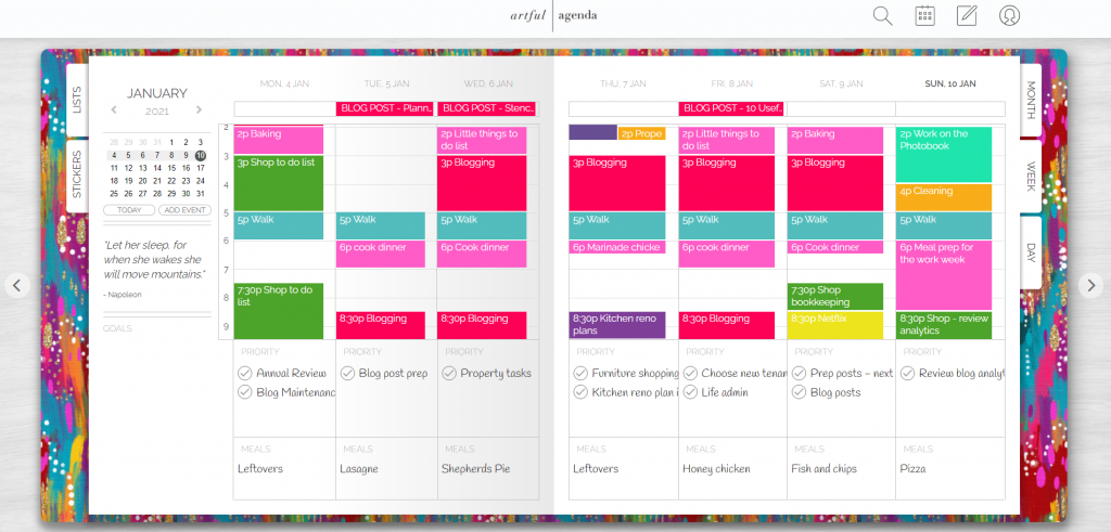 artful agenda weekly spread digital planning tool for use on computer ipad or iphone syncs with google calendar pros and cons