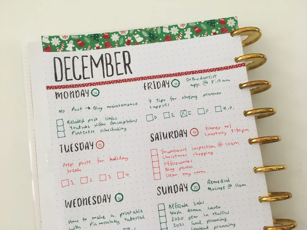paper accents days of the week stencils maggie holmes day to day planner refill pages diy discbound planner christmas theme simple minimalist