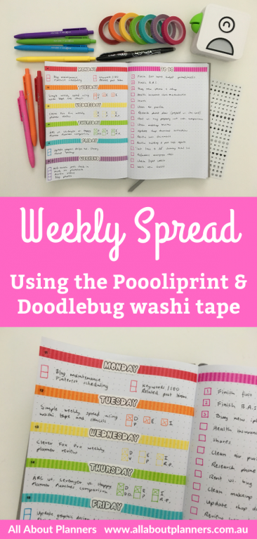 poooliprint stickers weekly spread with doodlebug washi tape quick simple washi tape