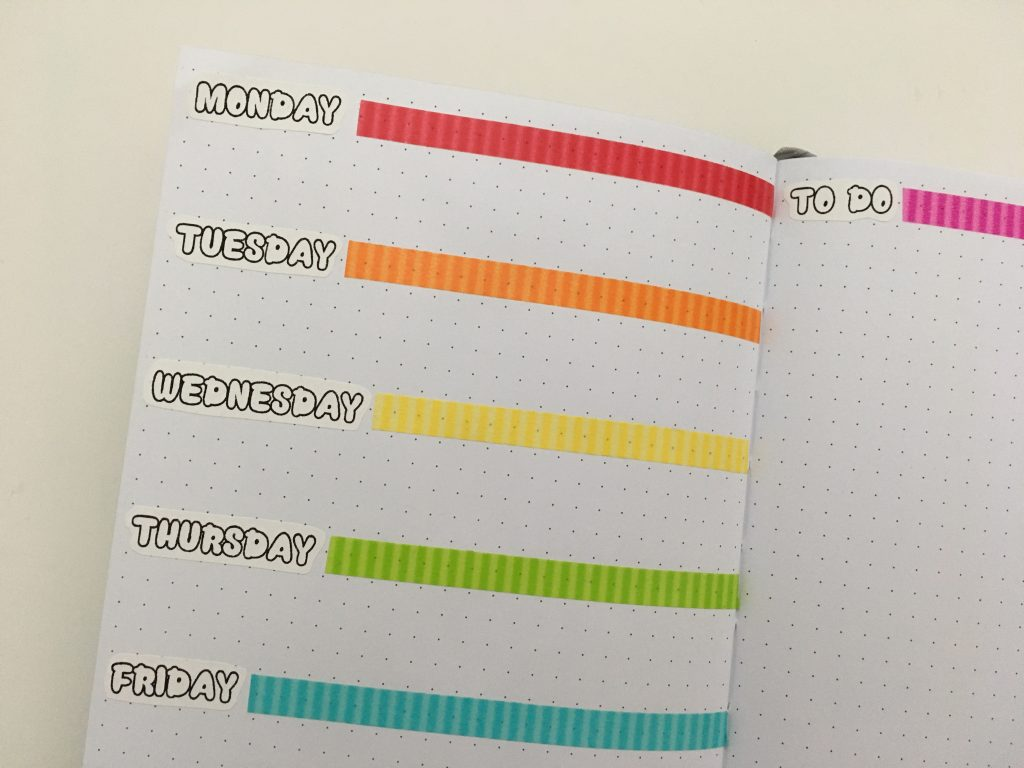 rainbow bullet journal weekly spread using doodlebug washi tape days of the week stickers quick simple poooliprint inkless pocket printer days of the week stickers dit color coded