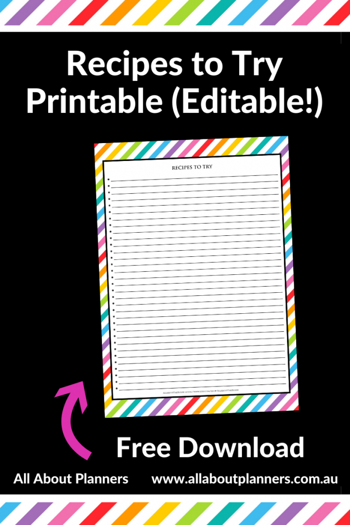 recipes to try printable editable pdf favorite meals list recipe organizer rainbow all about planners