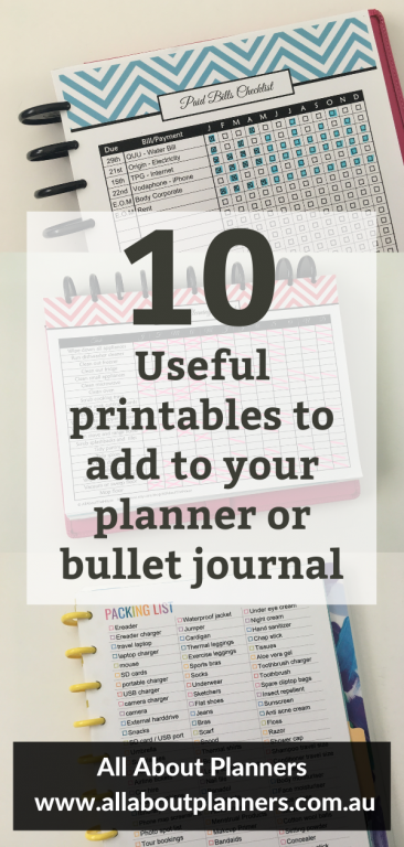 useful printables to add to your planner or bullet journal all about planners helpful tips bullet journal habit tracker checklist
