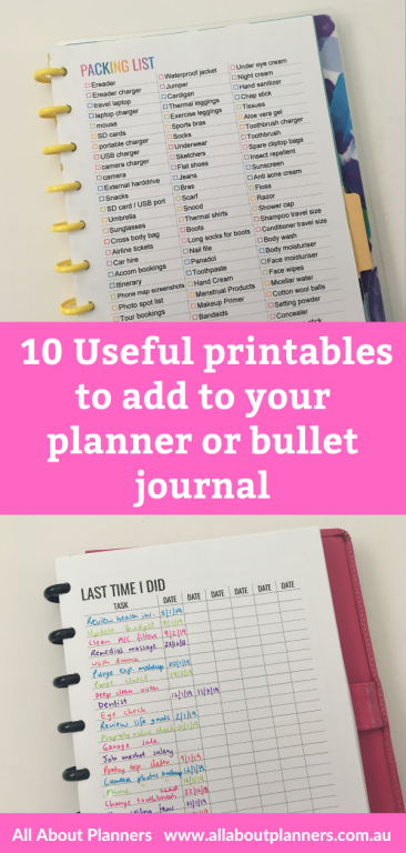 useful printables to add to your planner or bullet journal all about planners helpful tips bullet journal habit tracker checklist how to resize printables for happy planner
