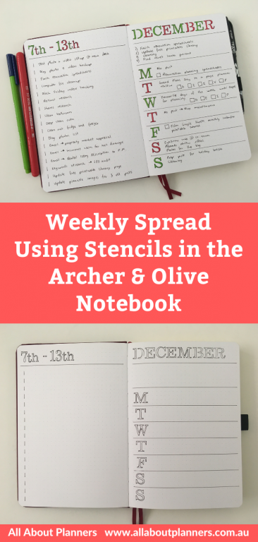 weekly spread using stencils in the archer and olive dot grid notebook pros and cons minimalist christmas layot no ghosting or bleed through 160 gsm thick paper bright white