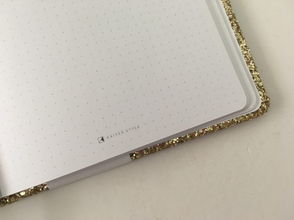 Kaisercraft glitter cover dot grid notebook bright white paper 5mm spacing australian bujo notebook pros and cons video review_05