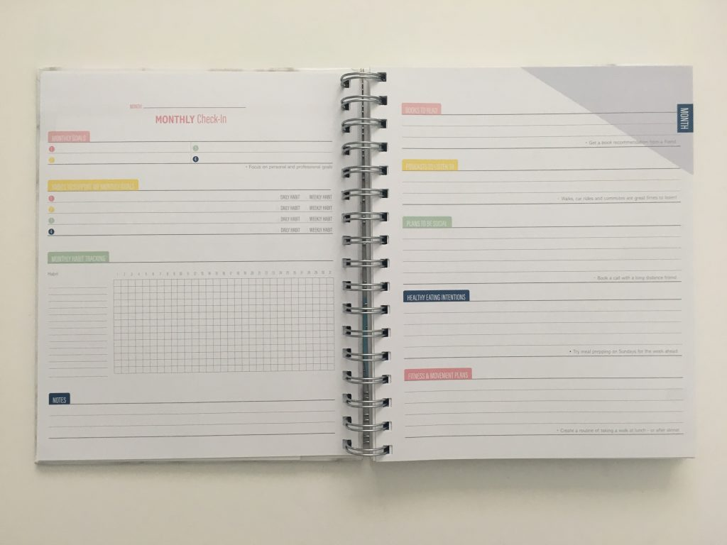 Kit Life Planner review daily undated pros and cons video review 1 page per day 2 page monthly spread monthly check in goal planning pages