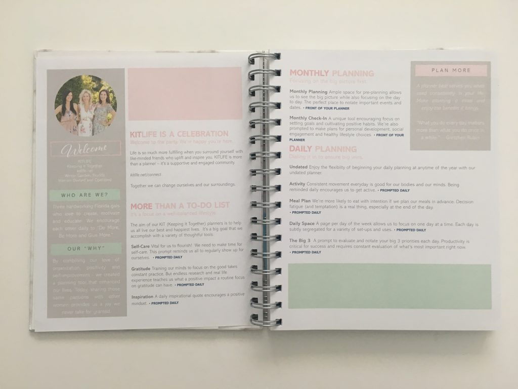 Kit Life Planner review daily undated pros and cons video review 1 page per day 2 page monthly spread planner stickers pastel marble cover_04